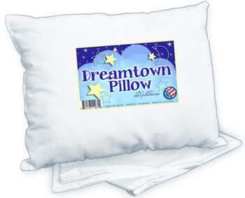 3. Dreamtown Kids Toddler Pillow With Pillowcase, White, 14x19