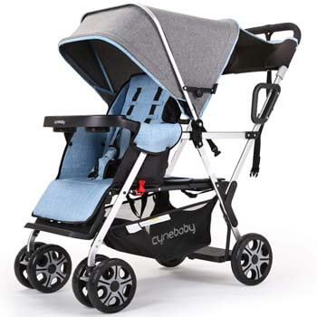 10. YIWANBA Double Stroller Convenience Urban Twin Carriage Stroller