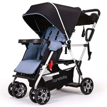 9. YIWANBA Double Stroller Convenience Urban Twin Carriage Stroller