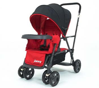 5. Joovy Caboose Too Graphite Stand-On Tandem Stroller, Red with Caboose Rear Seat, Red