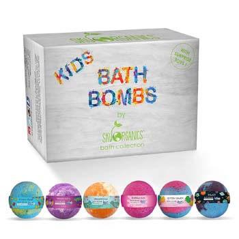 3. Sky Organics Kids Bath Bombs Gift Set with Surprise Toys Inside