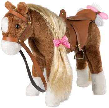 5. HollyHOME Stuffed Animal Horse Pretty Plush Toy Pretend Play Horse 11 inches Brown