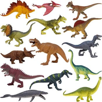 9. Boley 14-Pack 10 Inch Educational Dinosaur Toys