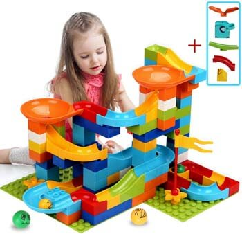 4. COUOMOXA Marble Run Building Blocks Classic Big Blocks STEM Toy Bricks