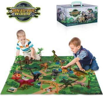 3. TEMI Dinosaur Toy Figure w/ Activity Play Mat & Trees