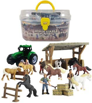 2. DINOBROS Horse Stable Playset Toys