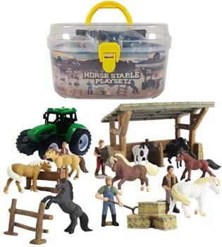 2. DINOBROS Horse Stable Playset Toys
