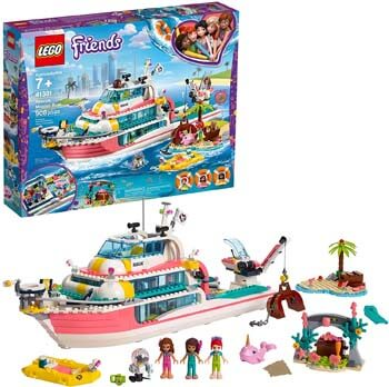 9. LEGO Friends Rescue Mission Boat 41381 Toy Boat Building Kit