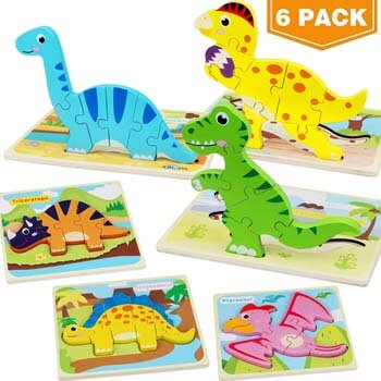 6. Aitbay Toddler Puzzles 6 Pack Dinosaur Wooden Puzzle