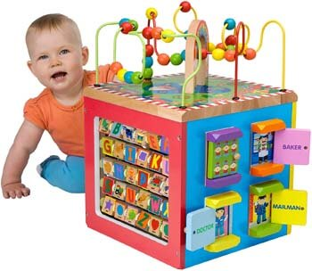 7. ALEX Toys Discover My Busy Town Wooden Activity Cube