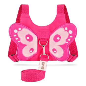 4. EPLAZA Toddler Walking Safety Butterfly Belt Backpack with Leash Child Kid Harness Strap Bag (Butterfly Harness Rose)