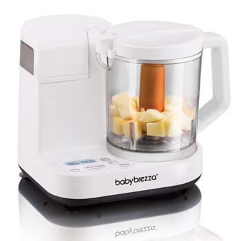 4. Baby Brezza Glass Baby Food Maker – Cooker and Blender to Steam and Puree Baby Food for Pouches in Glass Bowl