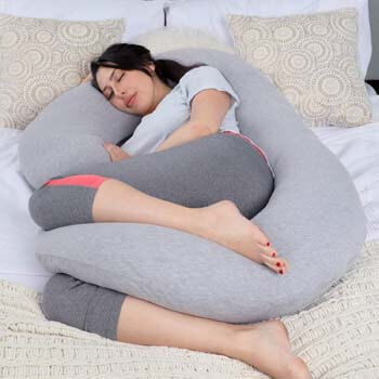 7. PharMeDoc Pregnancy Pillow with Travel & Storage Bag, C Shaped Full Body Pillow with Grey Jersey Cover