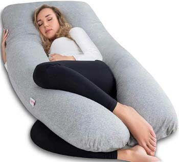 9. AngQi Full Body Pregnancy Pillow, U Shaped Maternity Pillow for Back Pain Relief and Pregnant Women