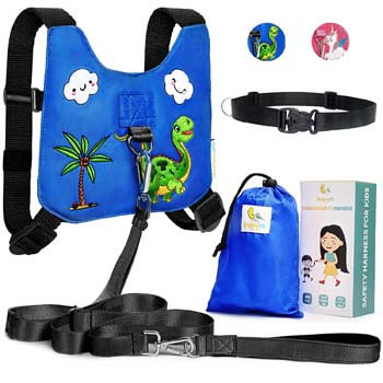8. HappyVk Safety Harness for Kids-Anti Lost Walking Toddler Baby Leash-with Drawstring Storage Bag and Belt