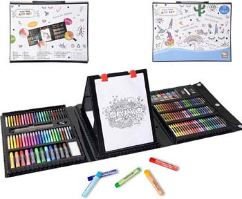 10. KIDDYCOLOR 211 Pieces Double Sided Trifold Easel Art Set