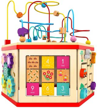 6. TOP BRIGHT Activity Cube Toy for 1 Year Old Girl Gift Wooden Baby Toy Cube
