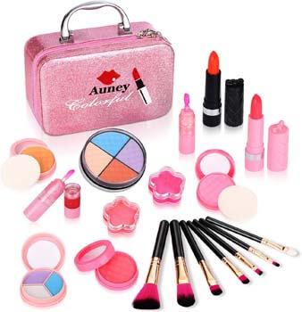 8. Auney 21Pcs Makeup for Girls Kids Makeup Kit Girl Real Pretend Play Makeup Toy