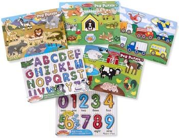 10. Melissa & Doug Wooden Peg Puzzle 6 Pack Numbers, Letters, Animals, Vehicles