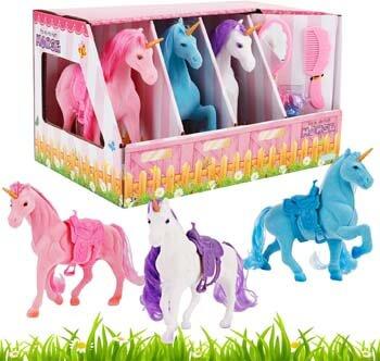 5. Liberty Imports Unicorn Stable Take-Along Kids Toy Playset