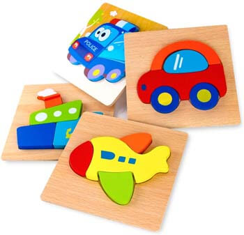 7. SKYFIELD Wooden Vehicle Puzzles for Toddlers 1 2 3 Years Old