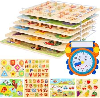 1. Wooden Toddler Puzzles and Rack Set