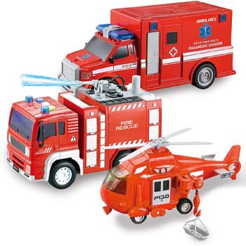 7. JOYIN 3 in 1 Friction Powered City Fire Rescue Vehicle Truck