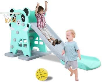 4. LAZY BUDDY Kids Slide, Sturdy Toddler Playground Slipping Slide Climber