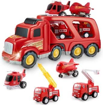 6. Forty4 Fire Truck Car Toys Set, Friction Powered Car Carrier Trailer