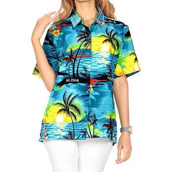 10. LA LEELA Women Plus Size Hawaiian Shirt Regular Fit Short Sleeve Shirt Printed A