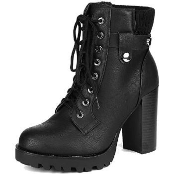 5. DREAM PAIRS Women's Fashion Ankle Boots - Chunky High Heel Booties