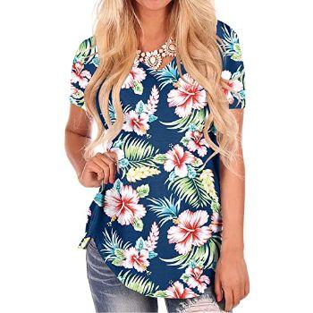 7. NIASHOT Women's Short Sleeve Loose Casual V-Neck Floral T-Shirt Tops