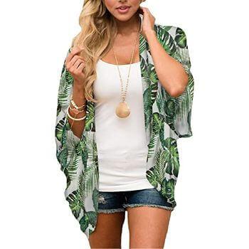 6. MayBuy Women's Flowy Summer Chiffon Kimono Cardigans Tops