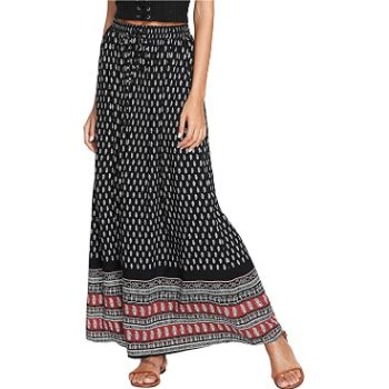 4.Milumia Women's Boho Vintage Print Pockets Side A-Line Maxi Skirt