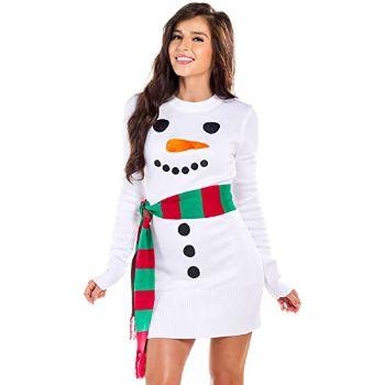 10. Women's Snowman Sweater Dress - White Snowman Christmas Dress with Scarf