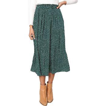 2. Exlura Women's High Waist Polka Dot Pleated Skirt Midi Maxi Swing Skirt with Pockets