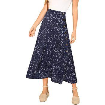 7.SheIn Women's Polka Dot A-Line Button Side Split Midi Knee Length Skirt