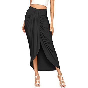 3. SheIn Women's Casual Slit Wrap Asymmetrical Elastic High Waist Maxi Draped Skirt