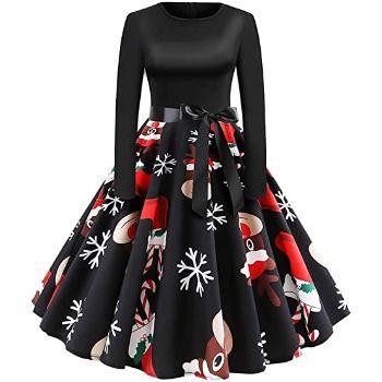 5. Women's Dress Long Sleeve Xmas EIK Tree Printed Dress